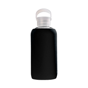 Black 420ml Glass Water Bottle