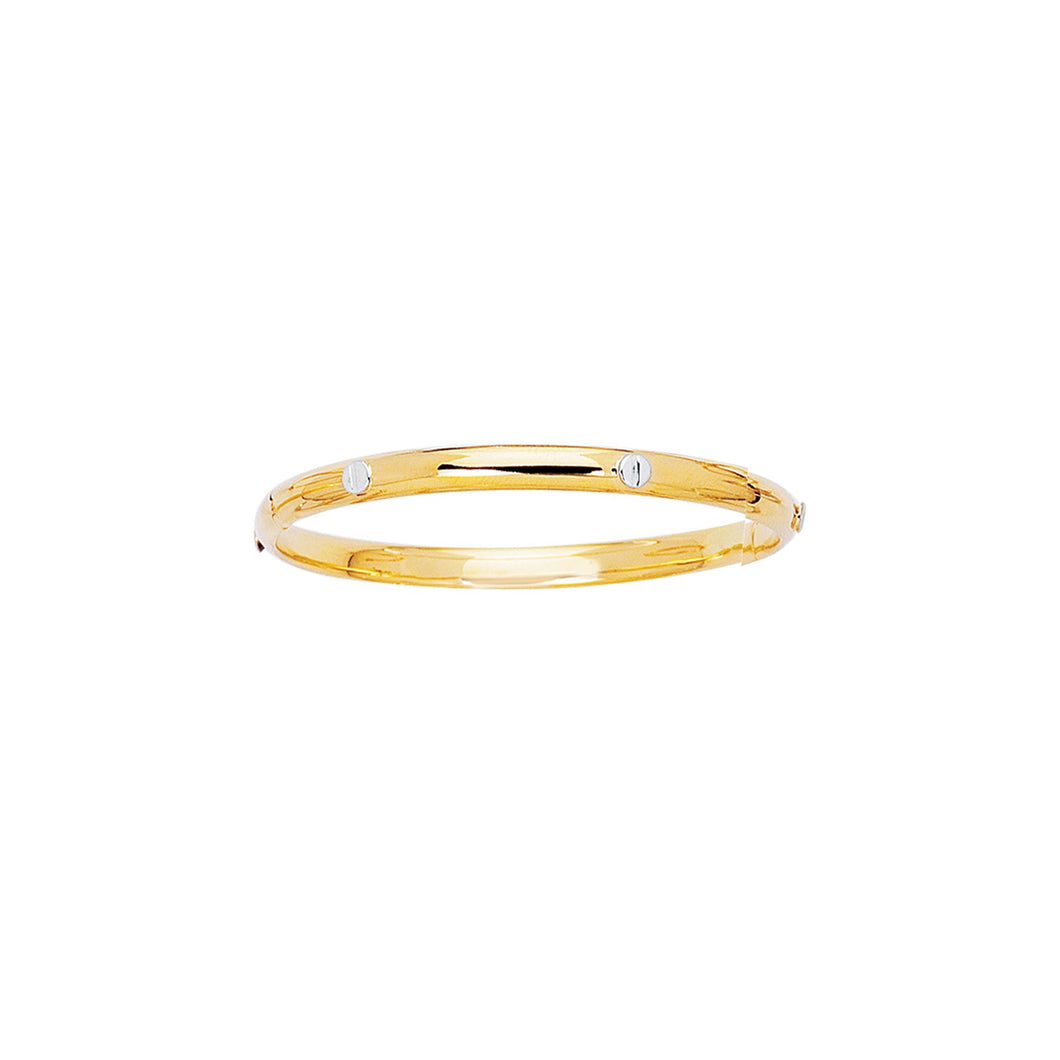 14kt 5.5mm Yellow+White Gold All Shiny Bangle with Clasp+White Nail Head