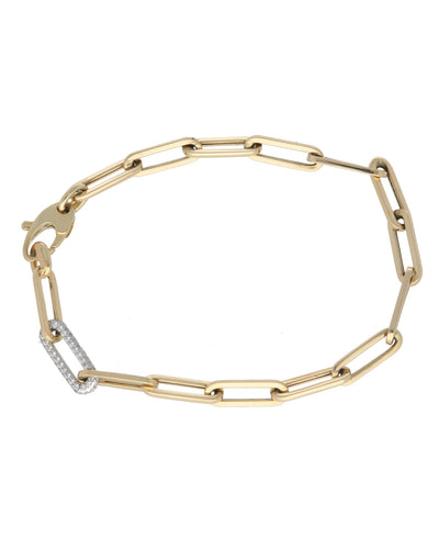 Paperclip Bracelet with 1 Diamond Pave Link