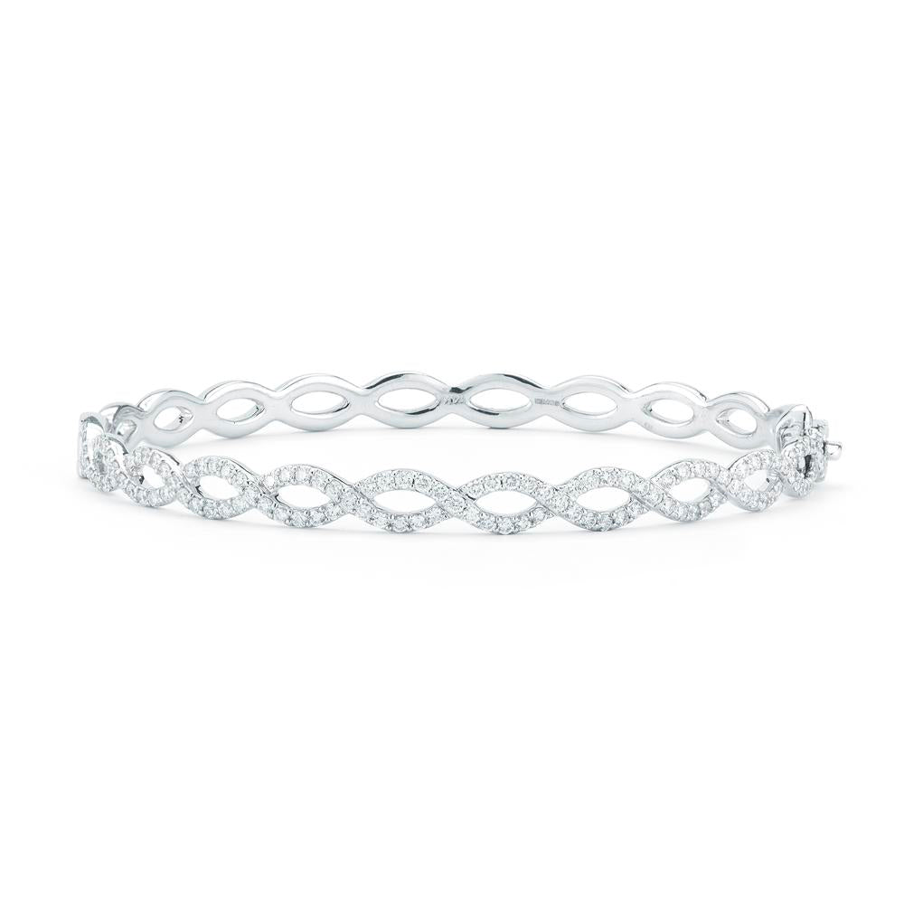 1/2 Way Around Open Diamond Oval Bangle