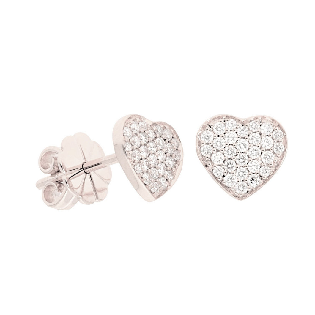 Pave Diamond Heart Stud Earrings
