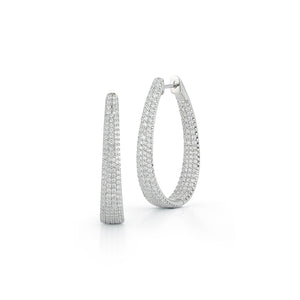 Oval Shape Diamond Hoop Earrings