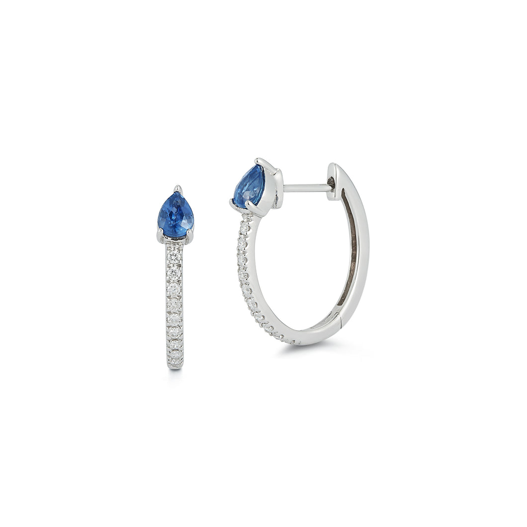 Diamond Huggie with Pear Blue Sapphire