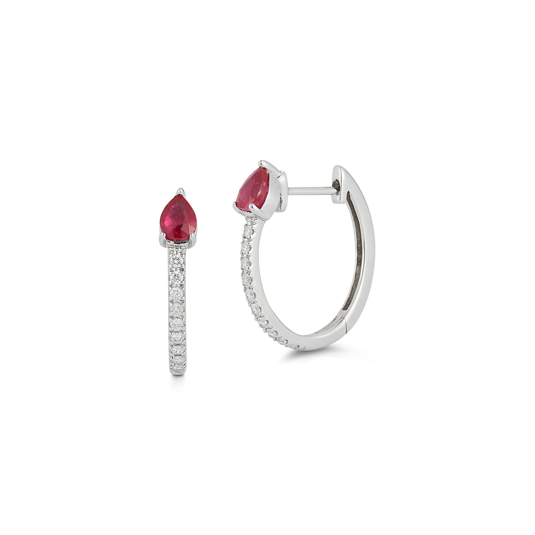Diamond Huggie with Pear Rubies