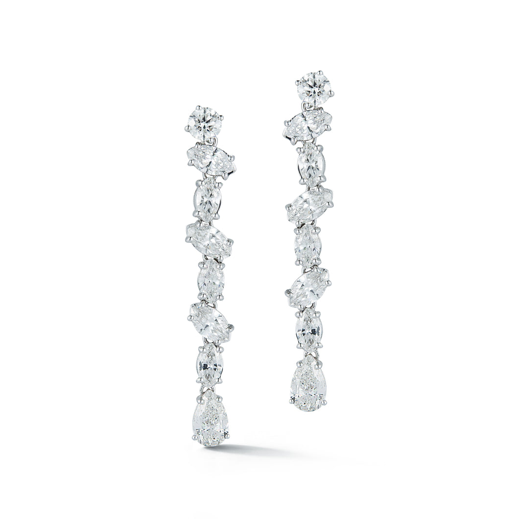 Multi-Shaped Diamond Linear Drop Earrings