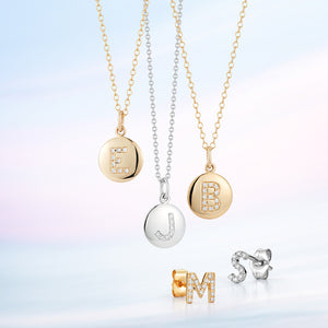 Disc Pendant with Pave Diamond Letter