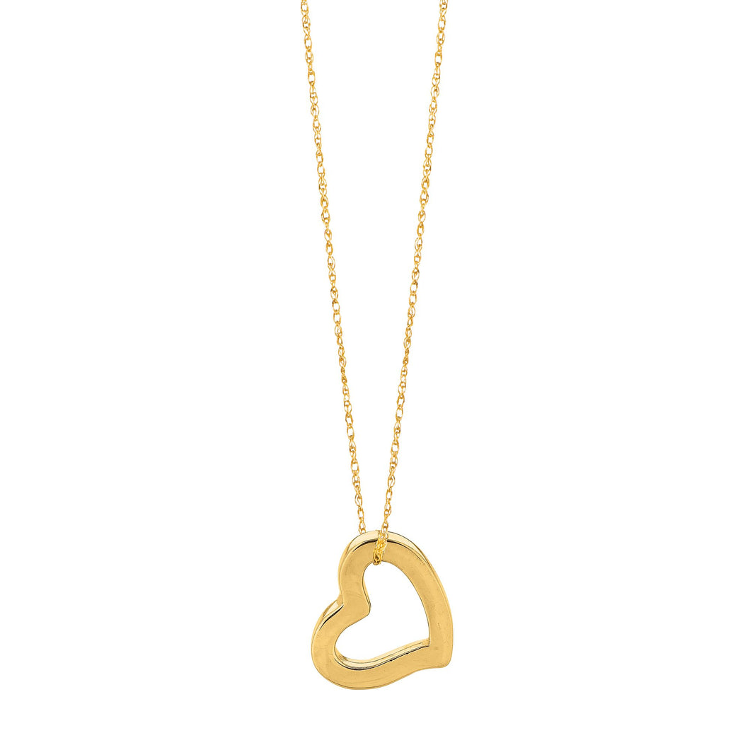 14kt 18 inches Yellow Gold Shiny Cable Link Chain with Spring Ring Clasp+Open Heart Pendant
