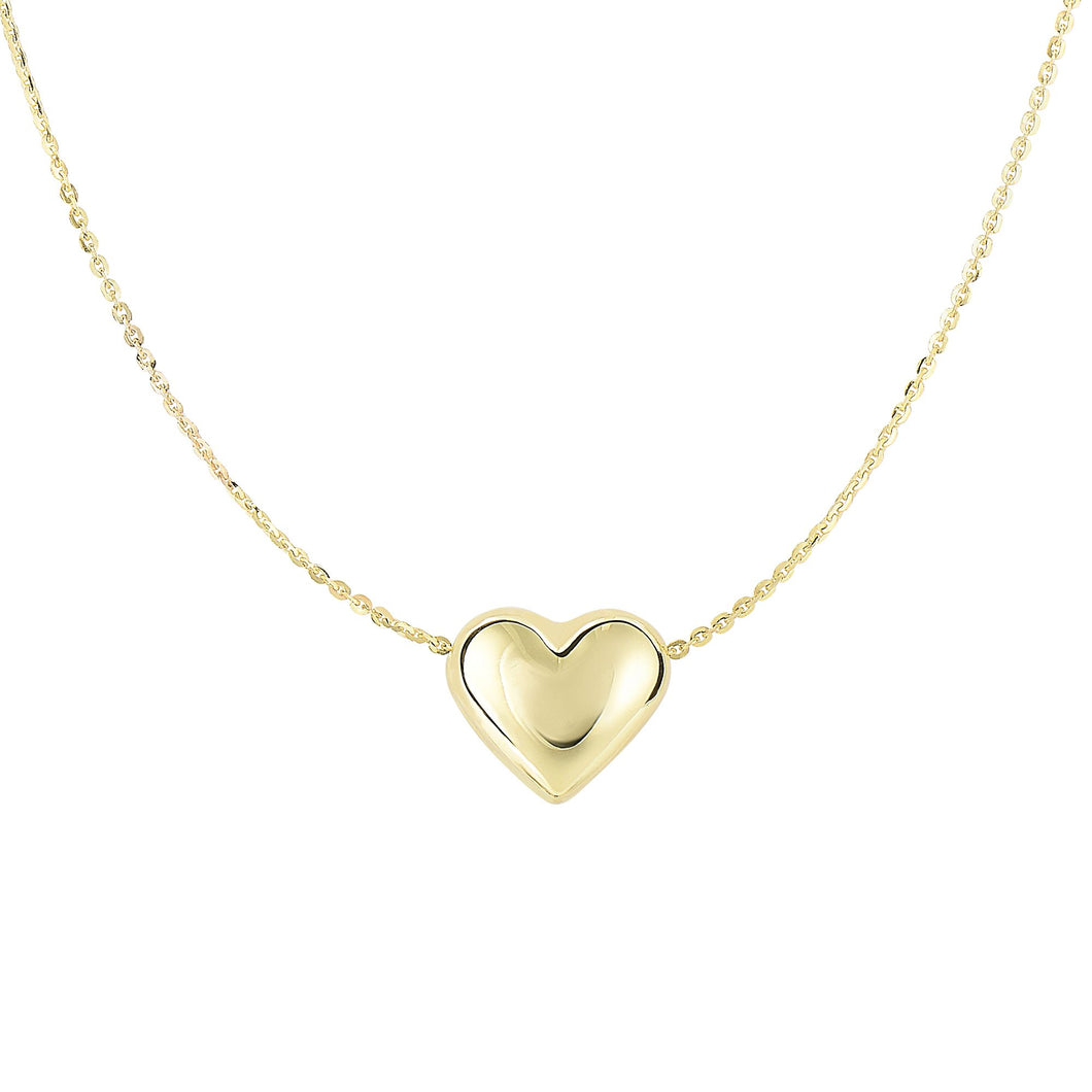 Sliding Puffed Heart with Diamond Cut Cable Chain Necklace with Spring Ring Clasp