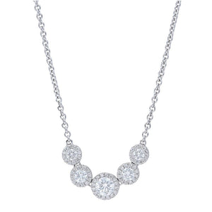 Five Stone Diamond Halo Necklace