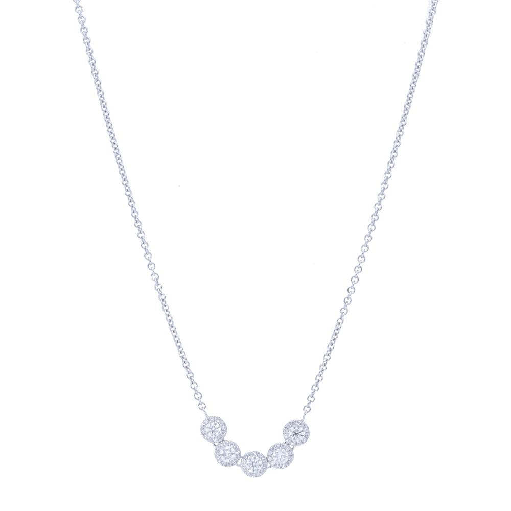5 Diamond Halo Necklace