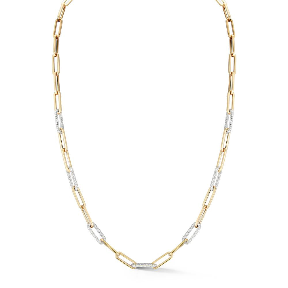 Paperclip Chain with 7 Pave Diamond Links