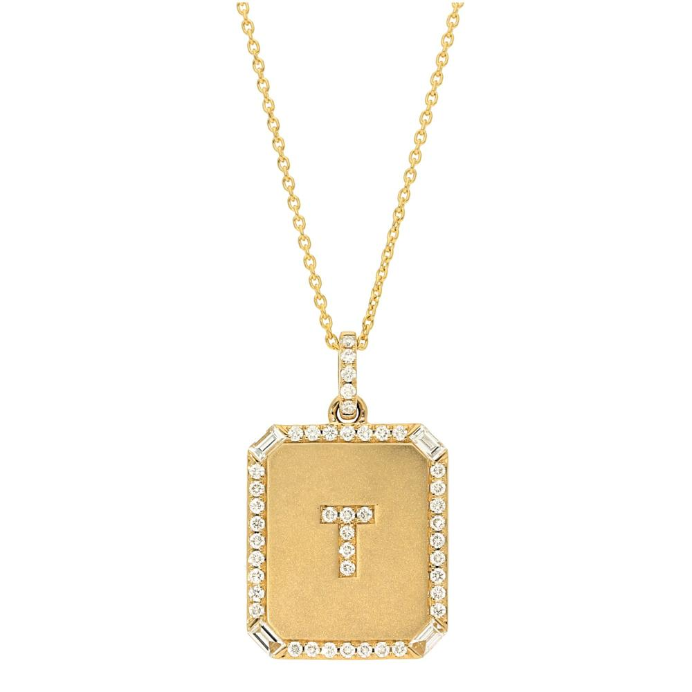 Square Pave Diamond Diamond Initial and Border Pendant