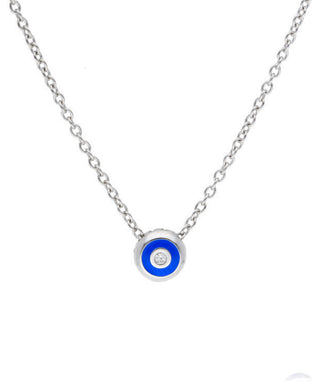 Blue Enamel with One Diamond Pendant