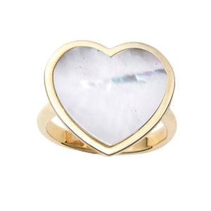 14kt Gold Size-7 Yellow Finish 17.8x19x1.6mm Polished Heart Ring  with  16x16mm Flat Heart White Mother of Pearl