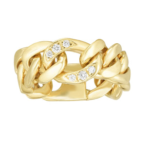 14kt Gold Size-7 Yellow Finish 7.8x2.5mm Diamond Cut Link Ring  with 0.0600ct 1.3mm White Diamond