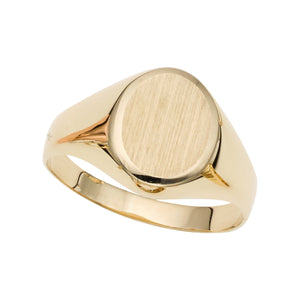 14kt Gold Size-7 Yellow Finish 11x9x0.5mm Matte Oval Ring
