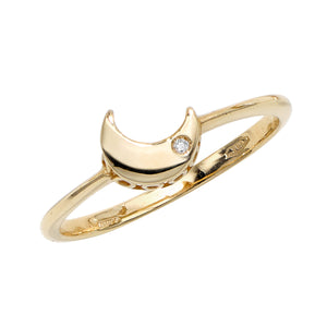14kt Gold Polished Sideways Moon Ring with 1mm White Diamond