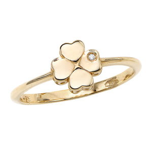 14kt Gold Size-7 Yellow Finish 7x7x1mm Polished 4 Leaf Clover Ring  with 0.0050ct 1mm White Diamond