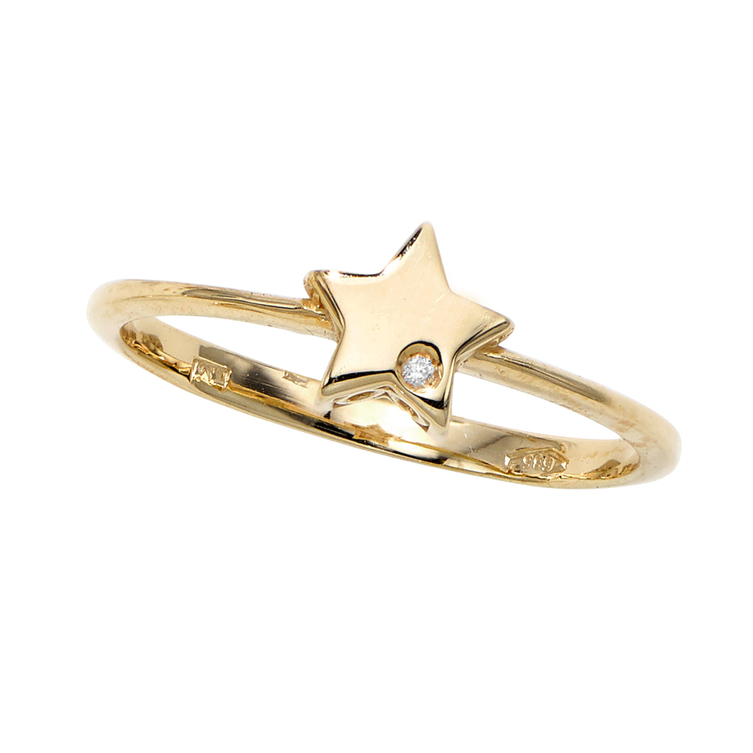 14kt Gold Polished Star Ring with 1mm White Diamond