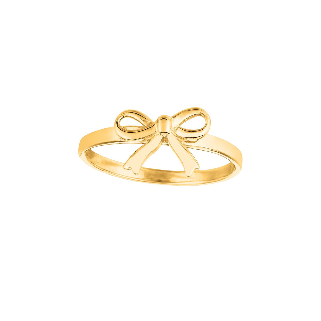14kt Yellow Gold Shiny Bow Top Size 7 Ring