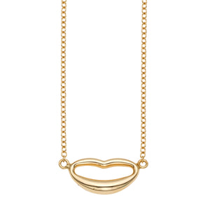 14kt Gold 18 inches Yellow Finish 7.9x19mm(CE)+1.3mm(Ch) Polished Extendable Lips Necklace with Lobster Clasp