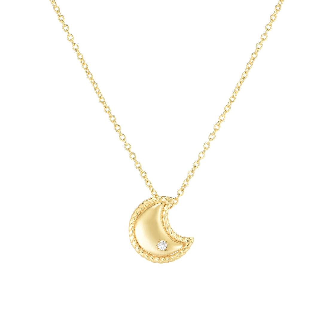 14kt Gold 18 inches Yellow Finish 9x8mm(CE),0.8mm(Ch) Polished 2 inches Extender Moon Necklace with Lobster Clasp with 0.0100ct 1.3mm White Diamond