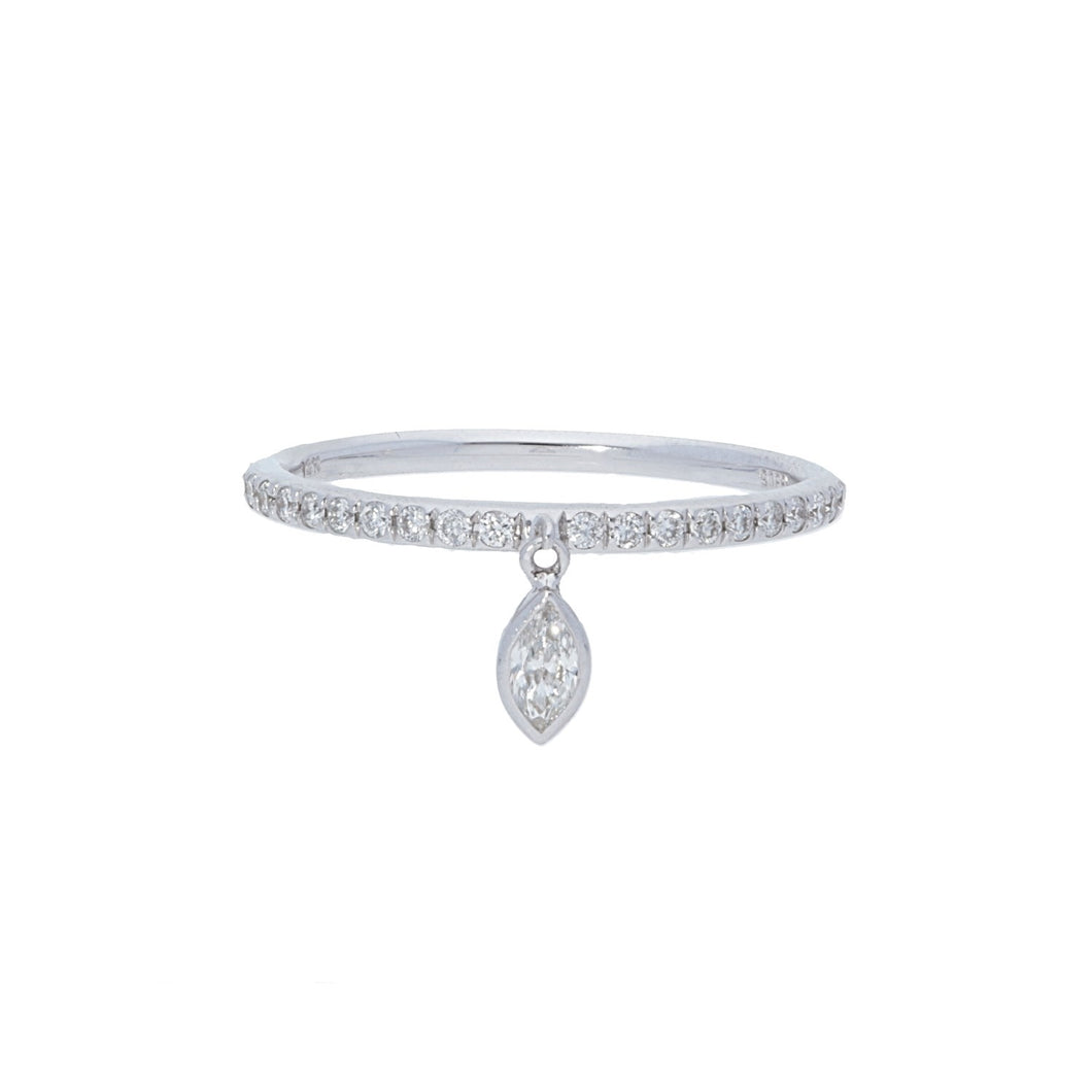 Diamond Pave Band with Dangling Charm Marquise