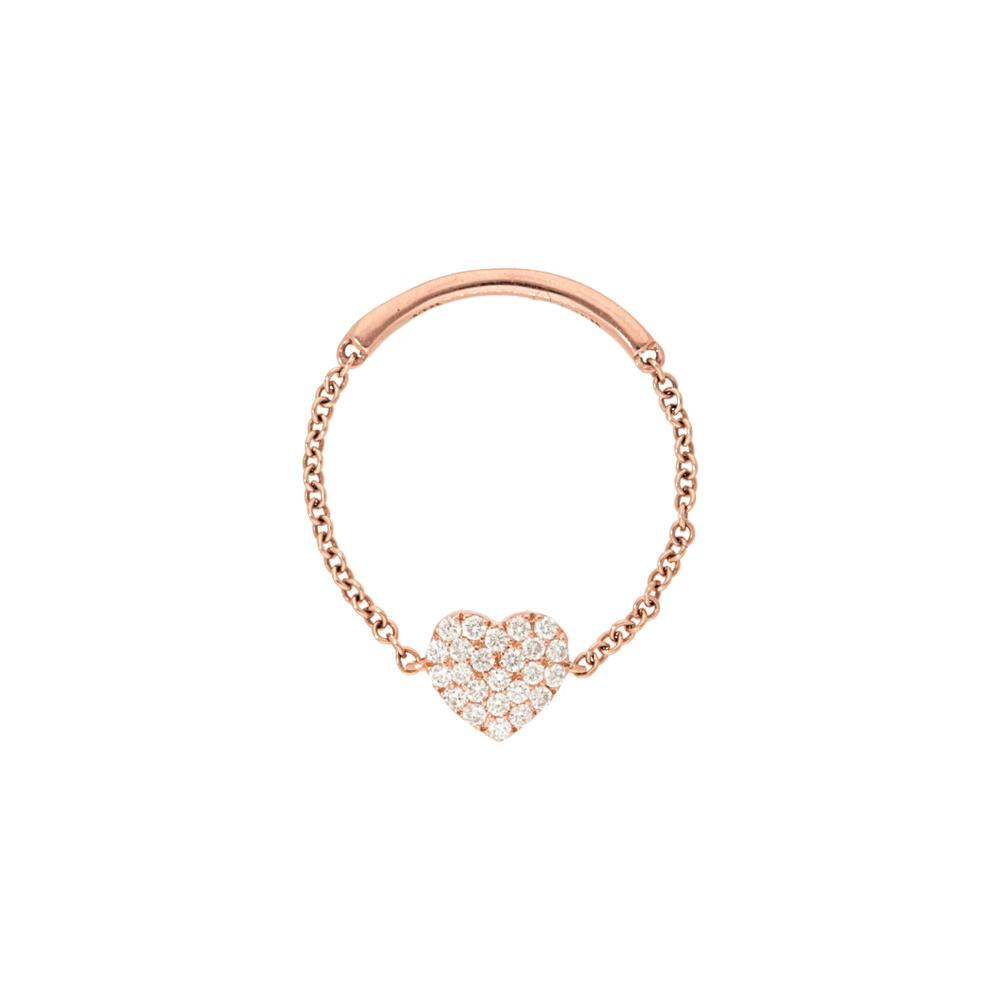 Pave Diamond Heart Shape Chain Ring
