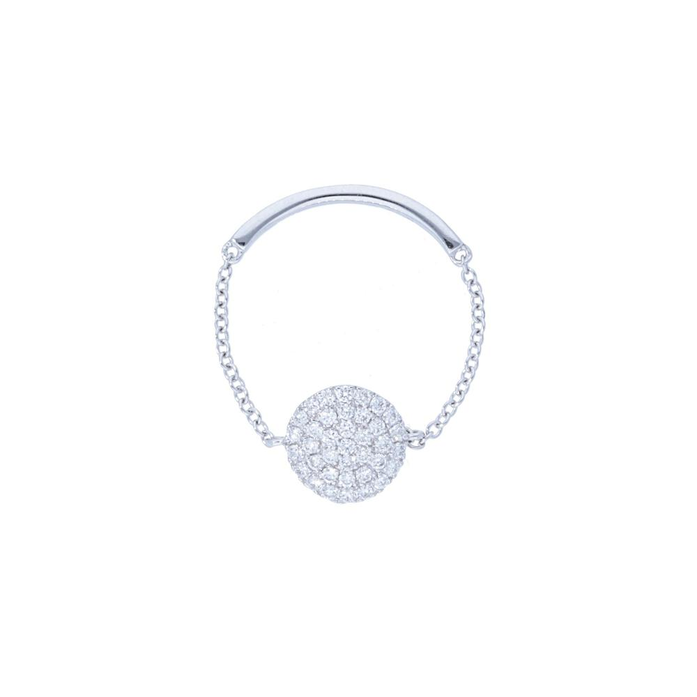 Pave Diamond Circle Shape Chain Ring