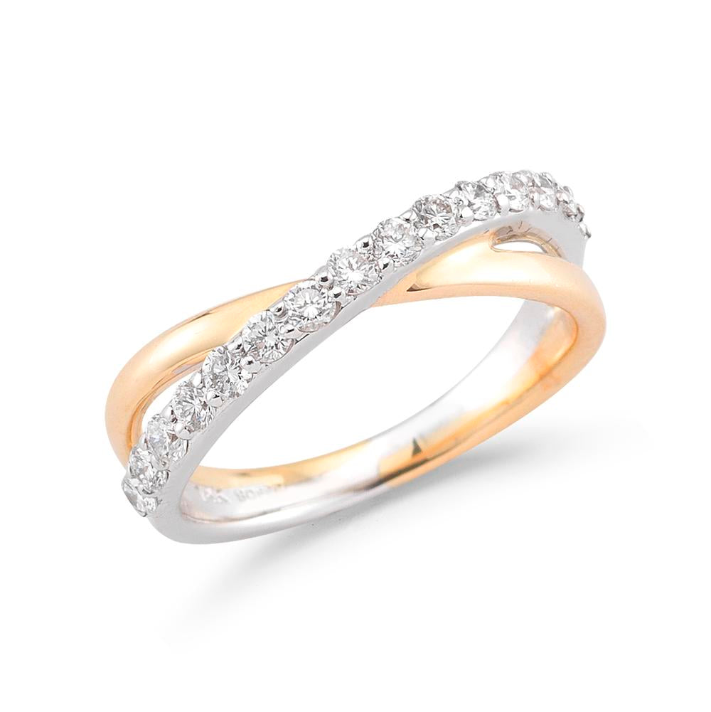 Pave Diamond and Polished Crossover Ring