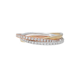 Interlocking Pave Diamond And Polished Gold Ring