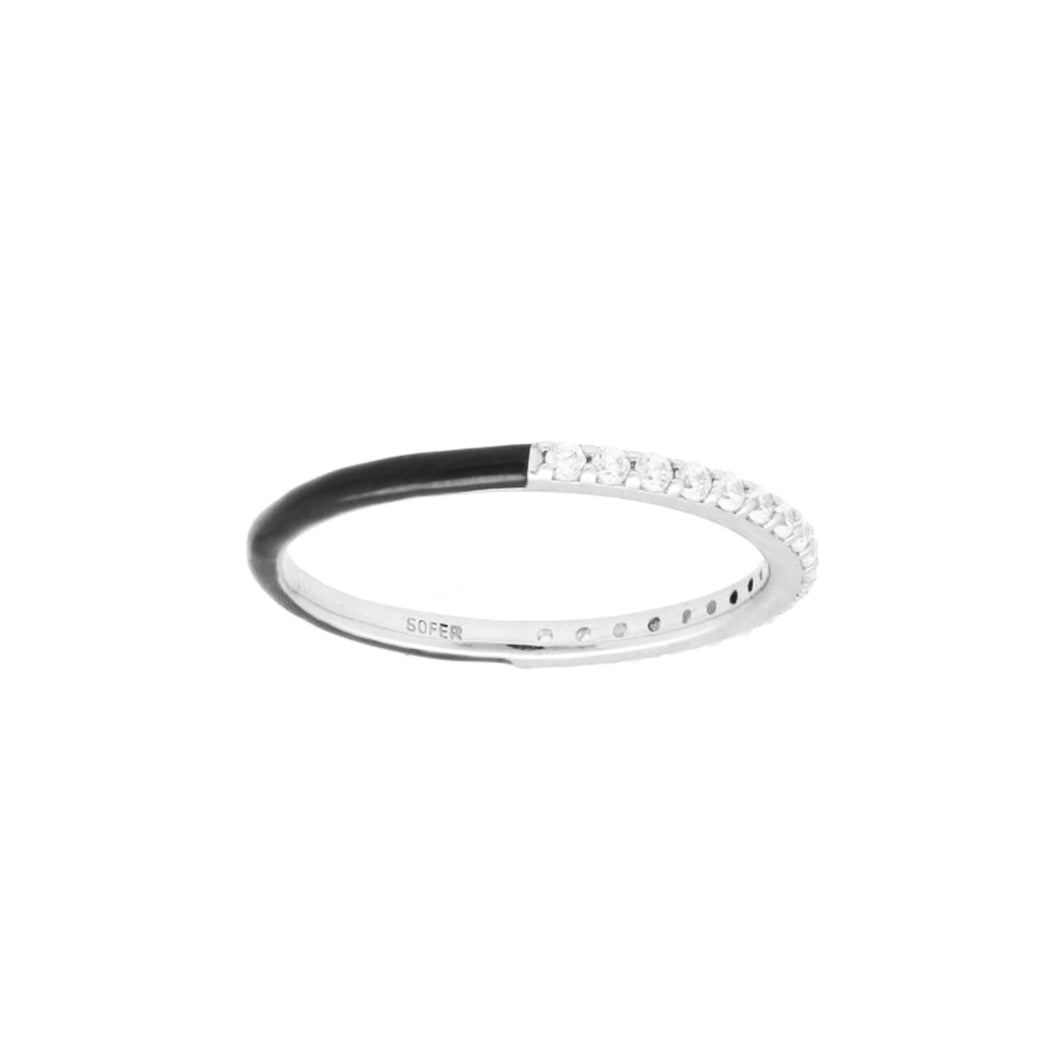 Black Enamel and Diamond Stackable Band