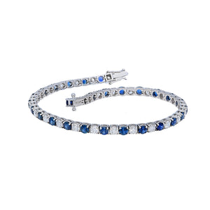Blue Sapphires and Diamond Tennis Bracelet