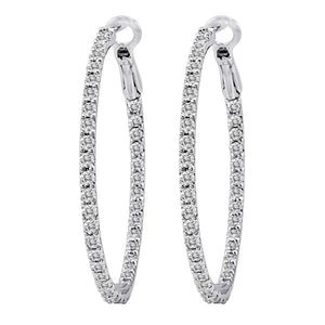 Diamond Hoop Earrings with Lever Back, 1 inch