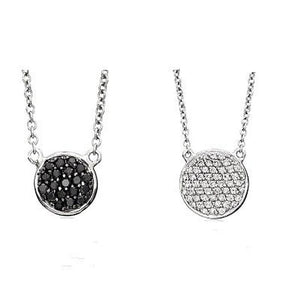 Reversible Black and White Disc Necklace