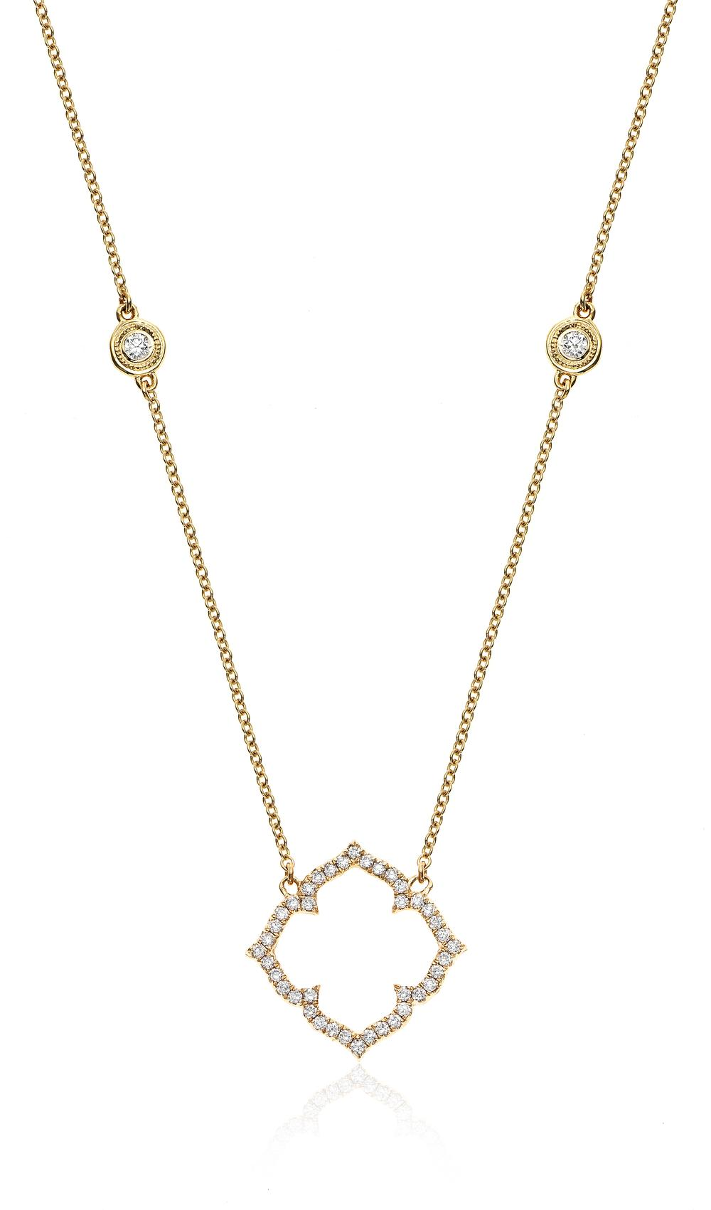Open Pave Diamond Clover with Milgrain Bezels Necklace