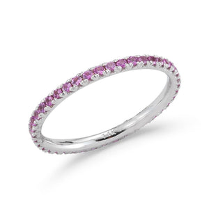 Pink Sapphire Eternity Stackable Band
