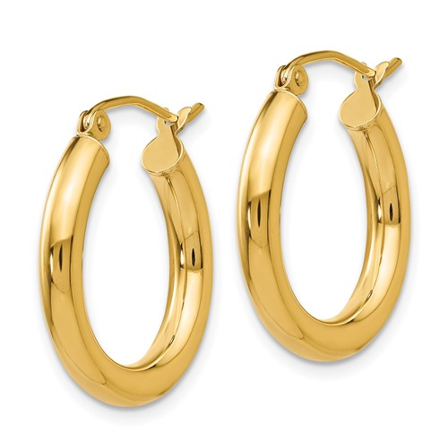 14k polished small hoops
