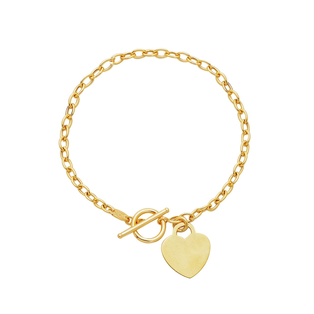 14kt 7.50 inches Yellow Gold Diamond Cut Oval Chain Link Bracelet with HEarRingt with Toggle Lock