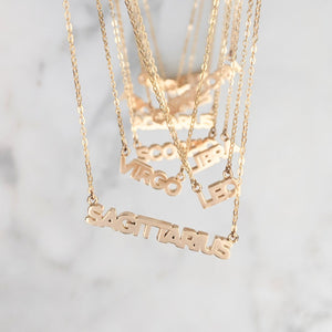 Zodiac Block Font Necklace
