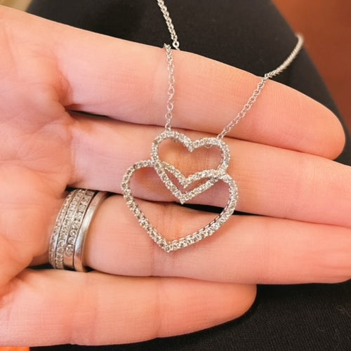 18k White Gold Double Heart Necklace