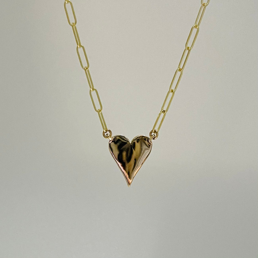 14k Gold Heart Necklace on PaperClip Chain
