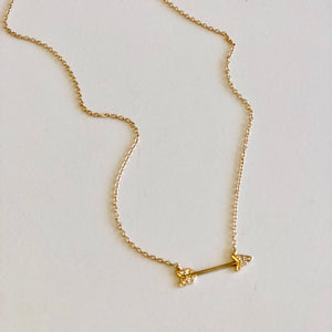 14k Yellow Gold with Diamonds Arrow Necklace