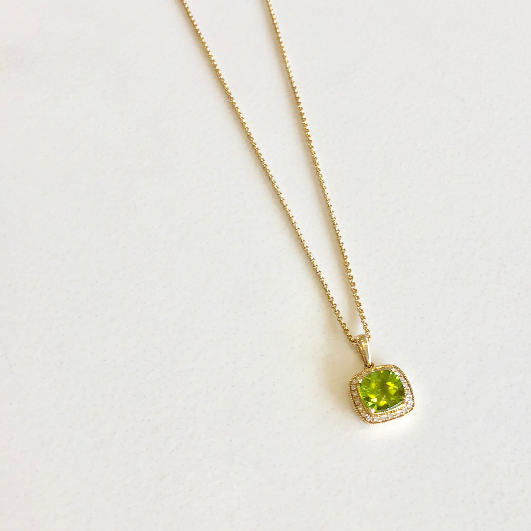 14k Yellow Gold and Peridot Necklace