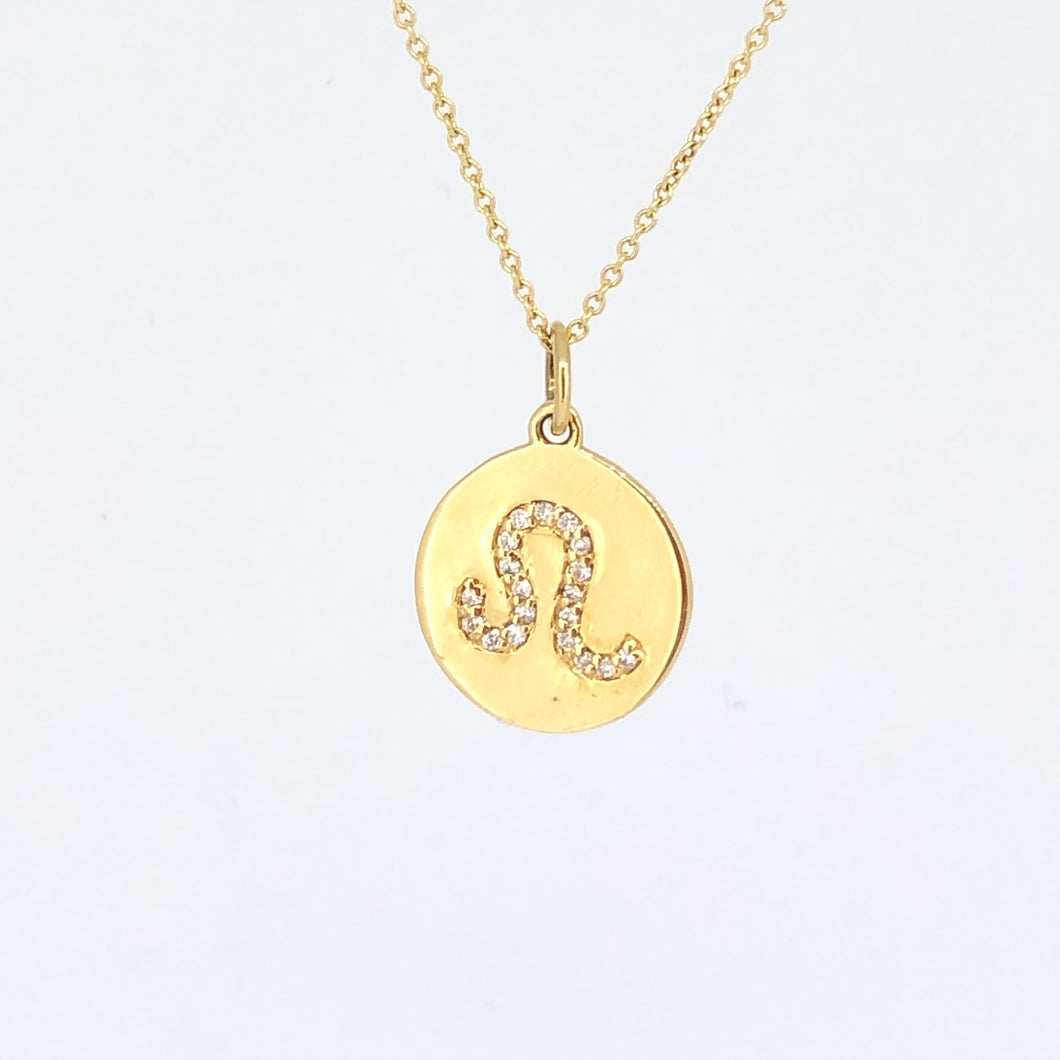 Diamond and Gold Zodiac Disk Necklaces