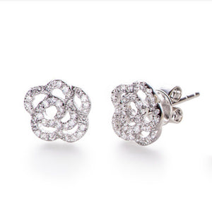 White Gold Rose Earrings