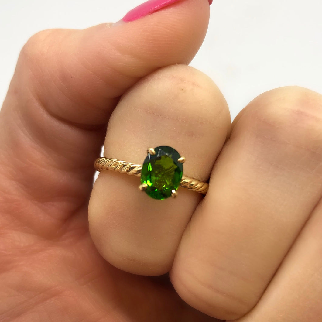 Green Diopside Ring
