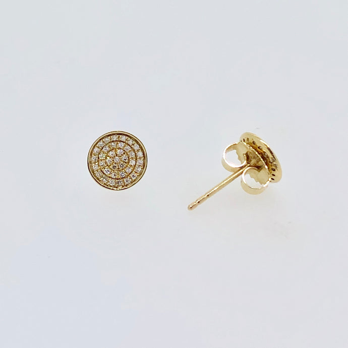14k Yellow Gold Circle Diamond Earrings