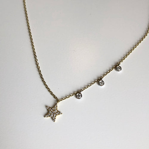 14k Star with 3 Side Briolette Neckaces