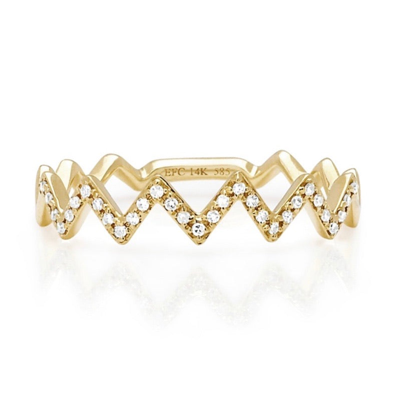 Diamond Zig Zag Stack Ring